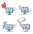 set of monitor character with foam finger mechanic vector image vector image
