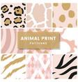set seamless animal print pattern