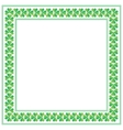 St Patricks Day square frame with shamrock on vector image vector image