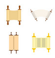 torah scroll book bible icons set flat style vector image vector image