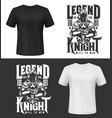 tshirt print with knight and sword mockup vector image vector image