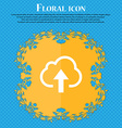 Upload from cloud Floral flat design on a blue vector image
