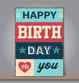 vintage happy birthday greeting or invitation card vector image vector image