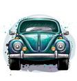 vintage retro car in green color vector image