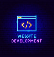 website development neon label vector image vector image