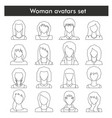 woman avatars set in black line style vector image vector image