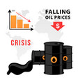 world oil crisis design graph with down red vector image vector image