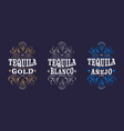 3 labels tequila packaging curlicues decor vector image vector image