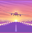airplane on pink background with sunset a flying vector image vector image