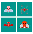 assembly flat spider bat book skull zombie men vector image vector image