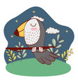 bird outdoors landscape scenery cartoon vector image
