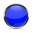 blue round glass button with chrome frame vector image vector image