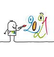 cartoon artist painting a 2021 funny graffiti face vector image