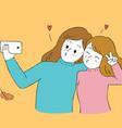 cartoon cute autumn best friends selfie vector image