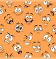 cartoon faces seamless pattern caricature comic vector image