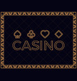 casino background with art deco frame and card vector image vector image