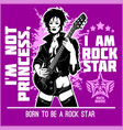 cool rock star girl playing guitar vector image vector image