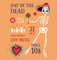 day death theme party promo poster vector image vector image