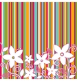 Decorative flowers striped background vector image vector image