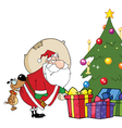 Dog Biting Santas Butt By A Christmas Tree vector image vector image