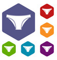 female cotton panties icons set hexagon vector image vector image