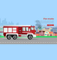 fire trucks flat web banner vector image vector image