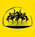 group people dancing street dance action vector image