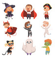 halloween costumes kids scary at party trick or vector image vector image