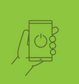 hand holding smartphone linear icon vector image vector image