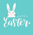 happy easter lettering card with cute rabbit vector image vector image