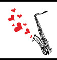 Heart love music saxophone playing a song for vale vector image