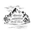inspiring mountain calligraphy hand drawing vector image vector image