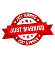 just married ribbon just married round red sign vector image vector image