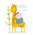Little boy hugging a giraffe vector image
