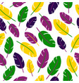 mardi gras seamless pattern with feathers on white vector image vector image