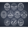 Mountain badges linear 2 white vector image vector image