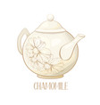 porcelain teapot and tea cup with mint tea and vector image vector image