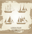 sailboat or ship icons on vintage background vector image vector image