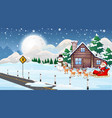 scene with santa and reindeer on sleigh vector image vector image
