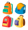 schoolbag set closed backpacks side view vector image