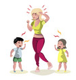 screaming kids and crying mother vector image vector image