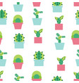 seamless pattern background with cute cactus soft vector image vector image