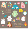 Set of cute woodland tribal animals