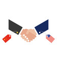 shaking hands with china flag tag and united vector image