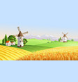 summer landscape with houses and windmill vector image
