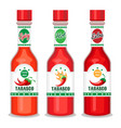tabasco sauce bottles set vector image