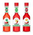 tabasco sauce bottles set vector image vector image