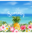 Tropical Background Palm Leaves Sea View vector image vector image