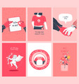 valentines day pink cartoon love card set vector image vector image