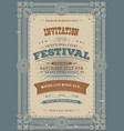 vintage holiday festival invitation background vector image vector image